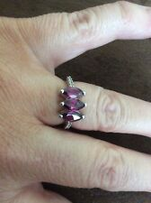 Garnet Trilogy Silver Ring. J To K. Bnwot. Gemporia.