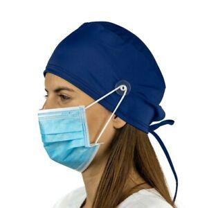 Navy Surgical Cap Women with Buttons I Nurse Cap I Scrub Cap
