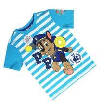 Paw Patrol Kids Boys Chase Saved The Day Blue White Stripe T-Shirt Top 18m-5Y