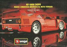 X2399 BBURAGO - Ferrari F40 - Pubblicità 1988 - Advertising