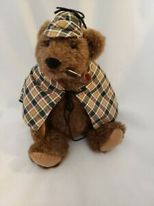 "Bearly There BY LINDA SPIEGEL 'INSPECTOR BEARLOCK' Teddy Bear, 10"" W/TAGS PIPE"