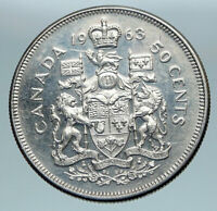 1963 CANADA Queen Elizabeth II Arms Old Vintage Lion SILVER 50 Cents Coin i85165