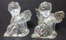 "Iridescent Cherub Angel Candle Holders W/Candles - Set Of 2 - 4 3/8"" Tall - NIB"