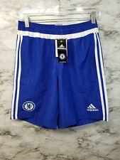 New Adidas Chelsea Soccer Shorts Training Blue Football Club Mens S Zip Pockets