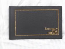 BLACK  GUERNSEY 2 RING PRESENTATION PACKS ALBUM EMPTY GOLD BORDER AND TITLE