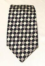 Turnbull & Asser Black White Gray Check Men Necktie 100% Silk Made In England