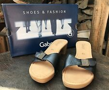 Womens Gabor Sandals Ladies Black Leather Clogs Slip On Mules Shoes UK 5.5