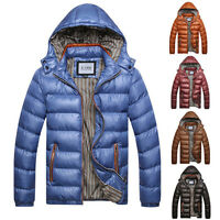 Mens Winter Warm Trendy Coat Padded Bubble Jacket Outwear Overcoat Hooded Parka