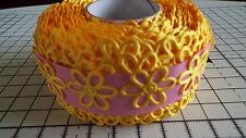 2m-Jaune, daisy flower motif appliqué -, passementerie, mariage-dentelle ruban de satin
