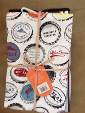 TOMMY BAHAMA TEA TOWELS SET OF 3 BOTTLE CAPS BLACK WHITE NWT