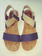 Women's Yellow Box MEERA Navy Elastic Ankle Strap Flat Sandal Shoes Sz 9M