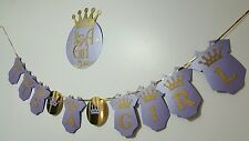 light  purple its a girl princess crown baby shower hanging banner with a sign