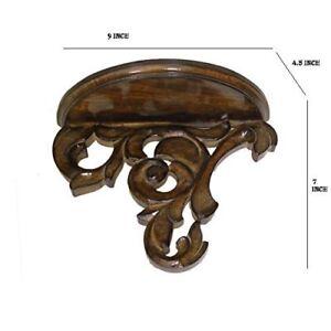 vintage Beautiful wooden carved Fancy wall bracket shelf simple & ethnic
