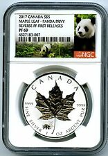 2017 $5 CANADA 1OZ SILVER MAPLE LEAF NGC PF69 PANDA PRIVY REVERSE PROOF RARE !