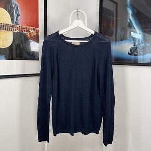Mens NUDIE JEANS Thin Knit LongSleeve Roundneck Jumper Sweatshirt Top Blue Small