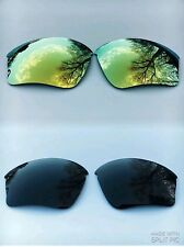 POLARIZED BLACK & 24k GOLD MIRRORED REPLACEMENT OAKLEY HALF JACKET XLJ LENSES