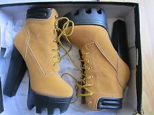 Women's Camel High Heels Platform Shoes Lace Ups Ankle Boots WILD DIVA 7.5US
