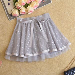 Lace Pleated Lady Tutu Skirt Mesh Underskirts Culotte Petticoats Polka Dot Fairy