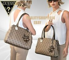 HANDBAG GUESS SIBYL BROWN COLOR FLOWER SATCHEL FLORAL FASHION 2018