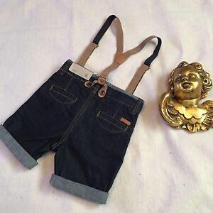 Zara Boys Shorts Sz 4 Toddler Blue Dark Wash With Adjustable Suspenders Pockets