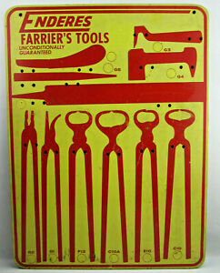 "Vintage Enderes Farrier Tools In Store Display Advertising Board 18"" by 24"" USED"