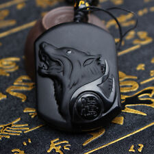 Natural Handwork Carved Black Obsidian Wolf Head Pendant With Beads Necklace