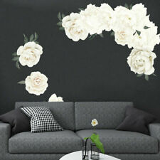 flower white peony nursery wall art mural sticker decal living room bedroom D13