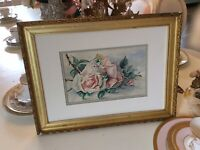 Vtg Antique Signed Pink Cabbage Rose Water Color Painting Victorian gold frame