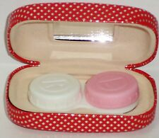 SAX Stylish Contact Lens Case W R & L Lens Holder & Mirror RED W SILVER DIAMONDS