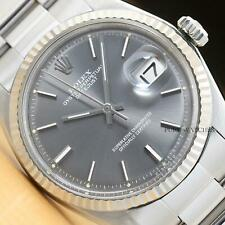 ROLEX MENS DATEJUST ORIGINAL GRAY SIGMA DIAL 18K WHITE GOLD & STEEL WATCH