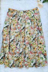 Oasis Prom Midi Skirt UK 12 Yellow Floral Cottagecore Garden Cotton Spring