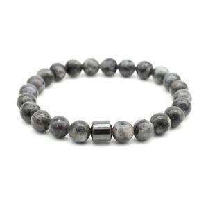 Natural 8MM Labradorite Magnetic Black Hematite Round Bead Bracelet Men Women UK