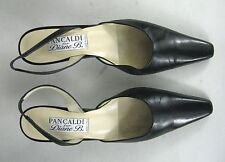 Pancaldi for Diane B Sz 7.5 B Slingback Kitten Heels Italy Black Leather Shoes