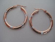 Oro Pendientes de Aro Corte Diamante 9 Quilates Rosa y Blanco