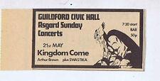 KINGDOM COME GUILDFORD CITY HALL press clipping 1972 5x9cm (20/5/72)