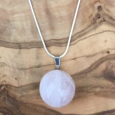 "Rose Quartz Crystal Ball Sphere Pendant 20mm 20"" Silver Necklace Love Healing"