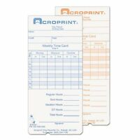 Acroprint Time Clock Replacement Time Cards - 250 / Pack (097000000)