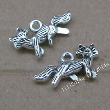 10pc Tibetan Silver 2-Sided Fox Animal Pendant Charms beads Accessories  PL694