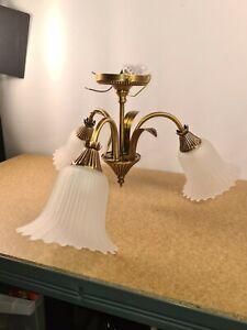 Dar Lighting Thyme 3 Light Semi Flush  Antique Brass finish Ceiling Light New