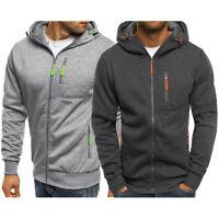 Mens Zip Up Hoodie Edward Sweatshirt Hooded Casual Pocket Sports Coat Top Jumper