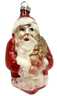 Antique Mercury Glass Santa Claus w/Tree Christmas Ornament Czech Vintage