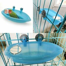 Blue Small Parrot Bird Bathtub Pet Cage Accessories Bird Mirror Bath Shower Box