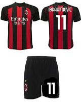Completo Ibrahimovic Milan Ufficiale 2021 Maglia + Pantaloncini Home Zlatan Ibra
