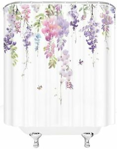 Pink Purple Green Wisteria Floral French Country Fabric Shower Curtain