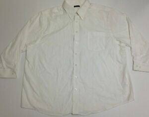 George Men's Button Down 3/4 Sleeve Work Shirt, White, Big Sizes, New w/ Stains