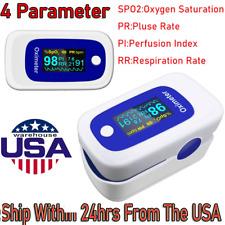 Oled Finger Pulse Oximeter Blood Oxygen Sensor SpO2 Pr Pi Respiration Rate Fda