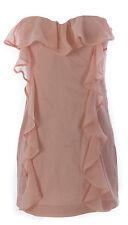TOPSHOP Women's Pink Ruffle Strapless Left Side Zip Dress 35D02Y US Size 2 NEW