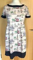 Cath Kidston Ladies Dress 8 10 Tea London Billie Goes to Town Summer Bus Scene