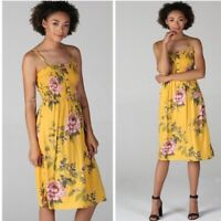 NWT Angie Yellow Floral Smocked Button Summer Sun Midi Boho Fall Dress S/M/L