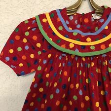Vintage Rare Editions Size 6 Dress Balloons Red Blue Yellow Green Birthday Party